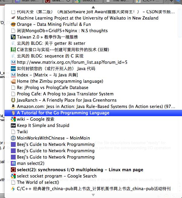 我的 Firefox 当前打开的标签页的列表