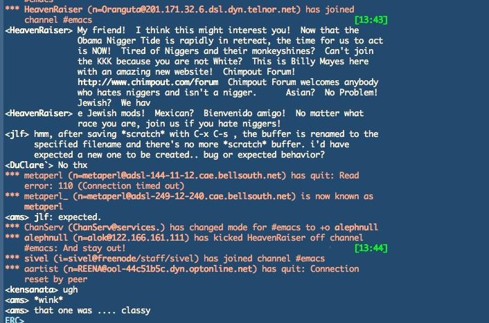 ERC 中 IRC 频道踢人的截屏
