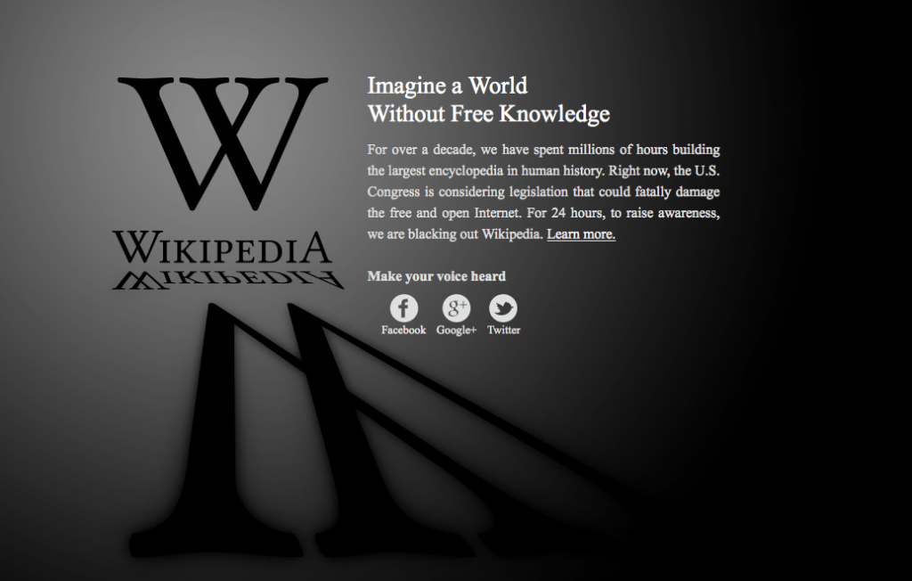 Wikipedia protests sopa by blacking its website.