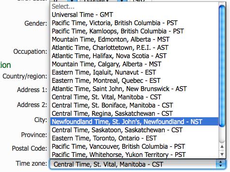 Select timezone in Windows Live. (English version)