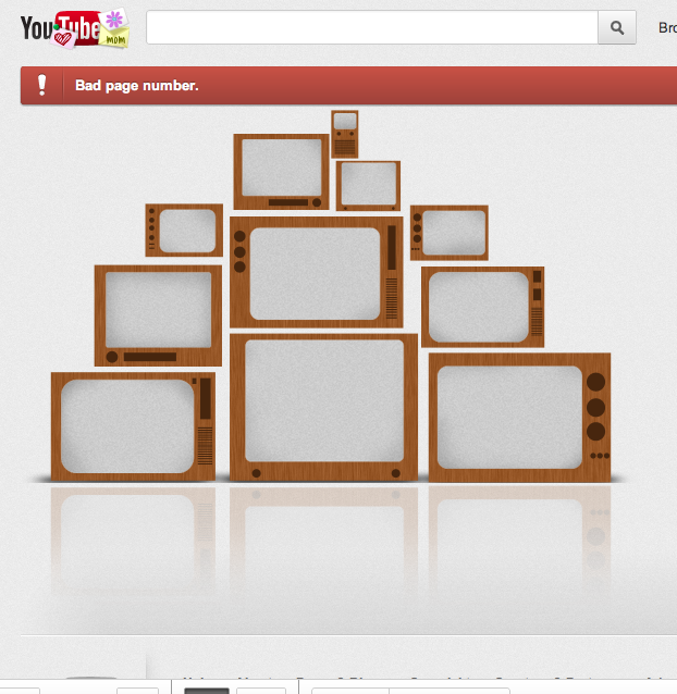 An error page of YouTube.