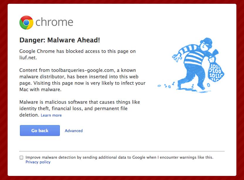 Chrome 浏览器发出的警告
